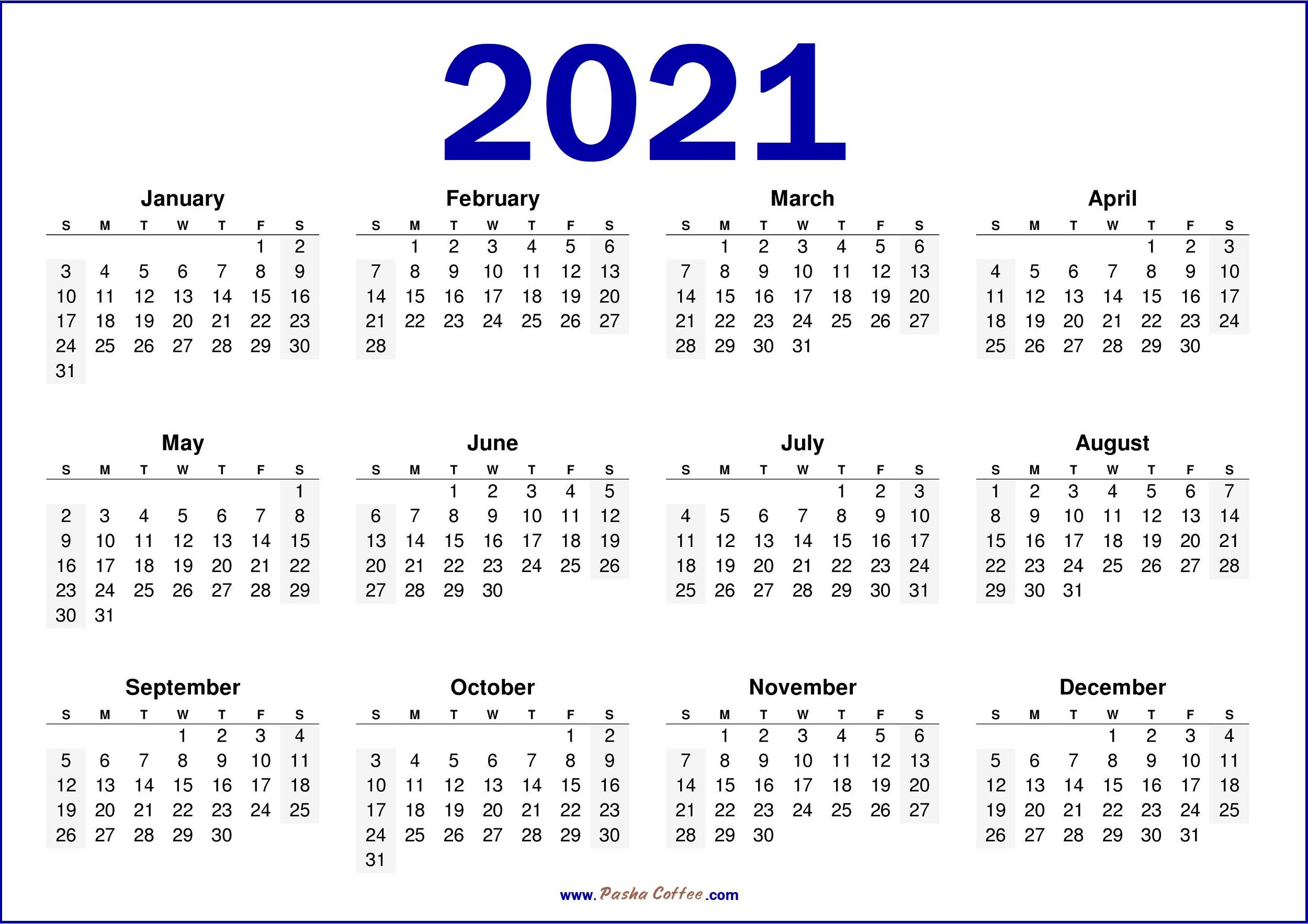 2021 Calendar USA - Free Printable 2021 Calendar Blue
