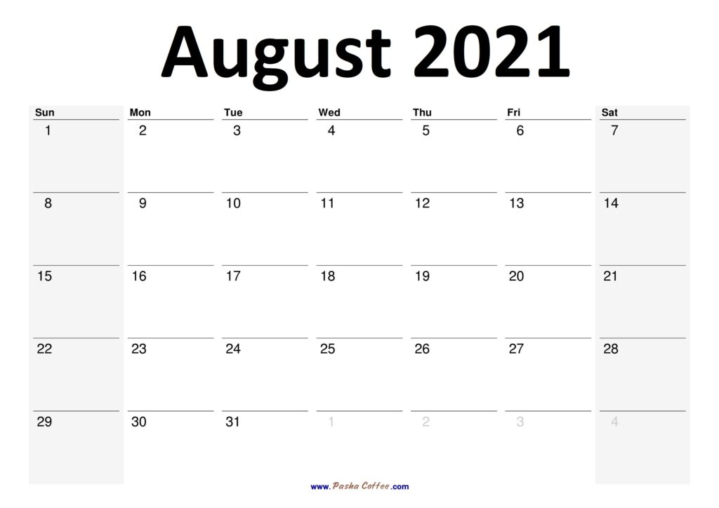 2021 August Calendar Planner Printable Monthly
