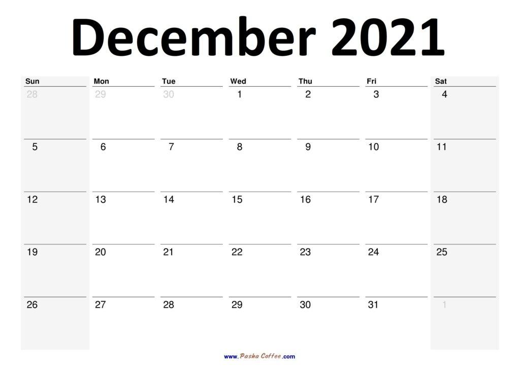 2021 December Calendar Planner Printable Monthly