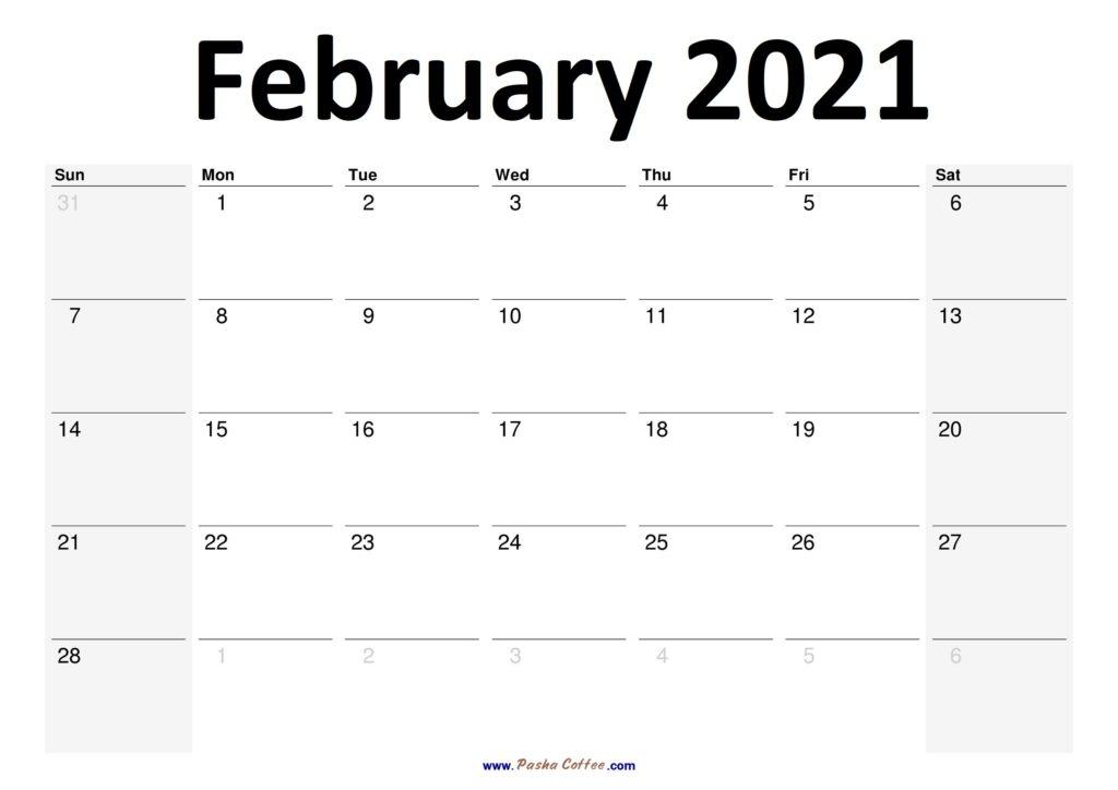 2021 February Calendar Planner Printable Monthly