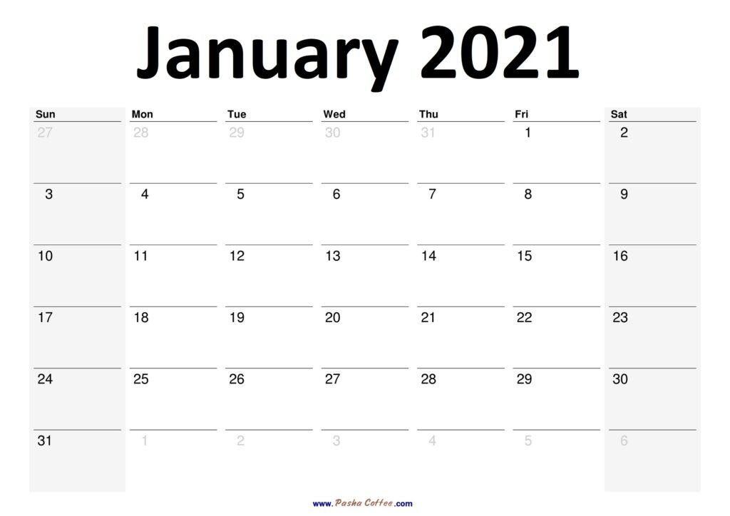 2021 January Calendar Planner Printable Monthly