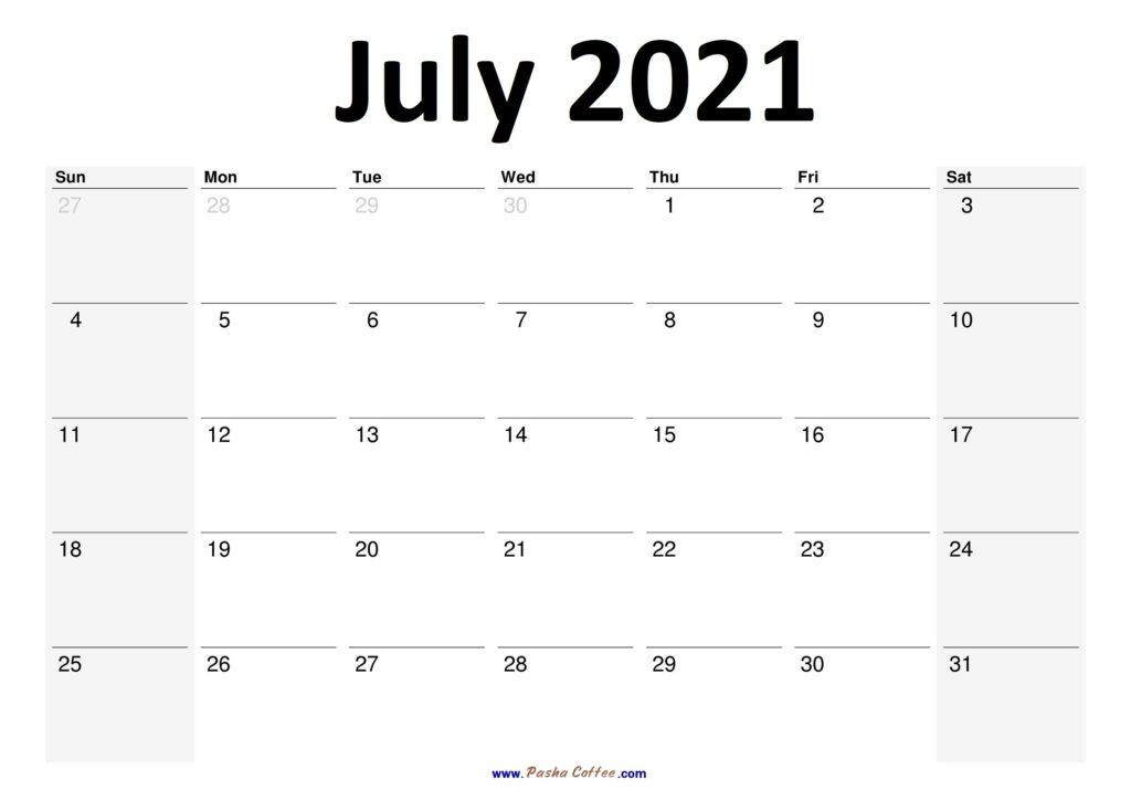 2021 July Calendar Planner Printable Monthly