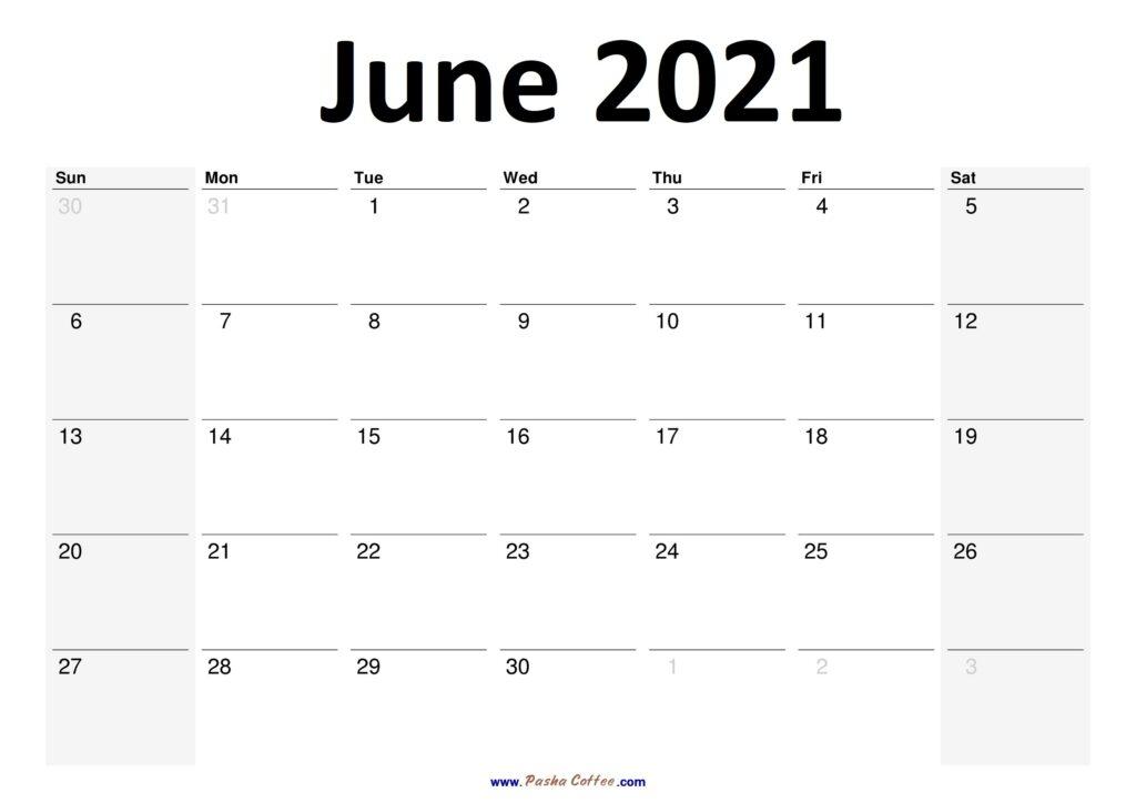 2021 June Calendar Planner Printable Monthly