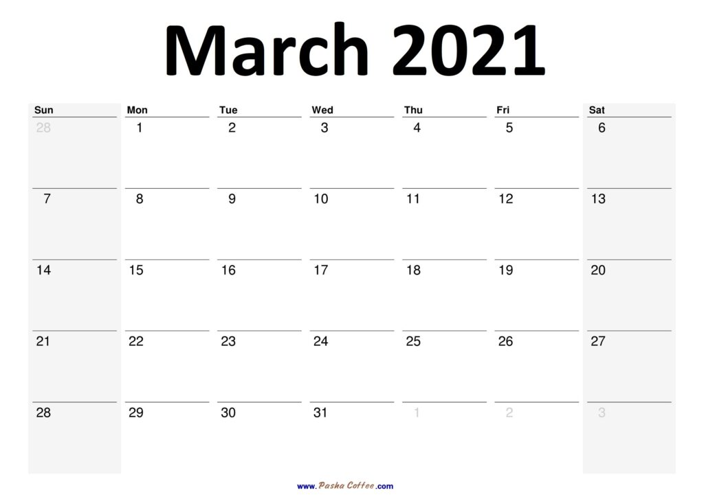 2021 March Calendar Planner Printable Monthly