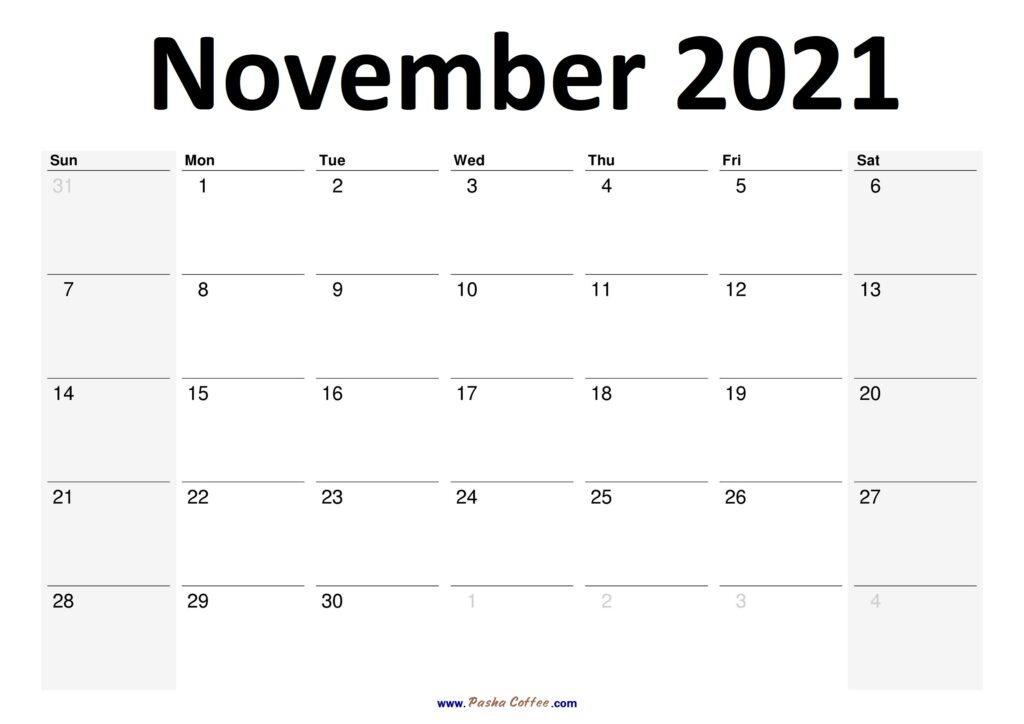 2021 November Calendar Planner Printable Monthly