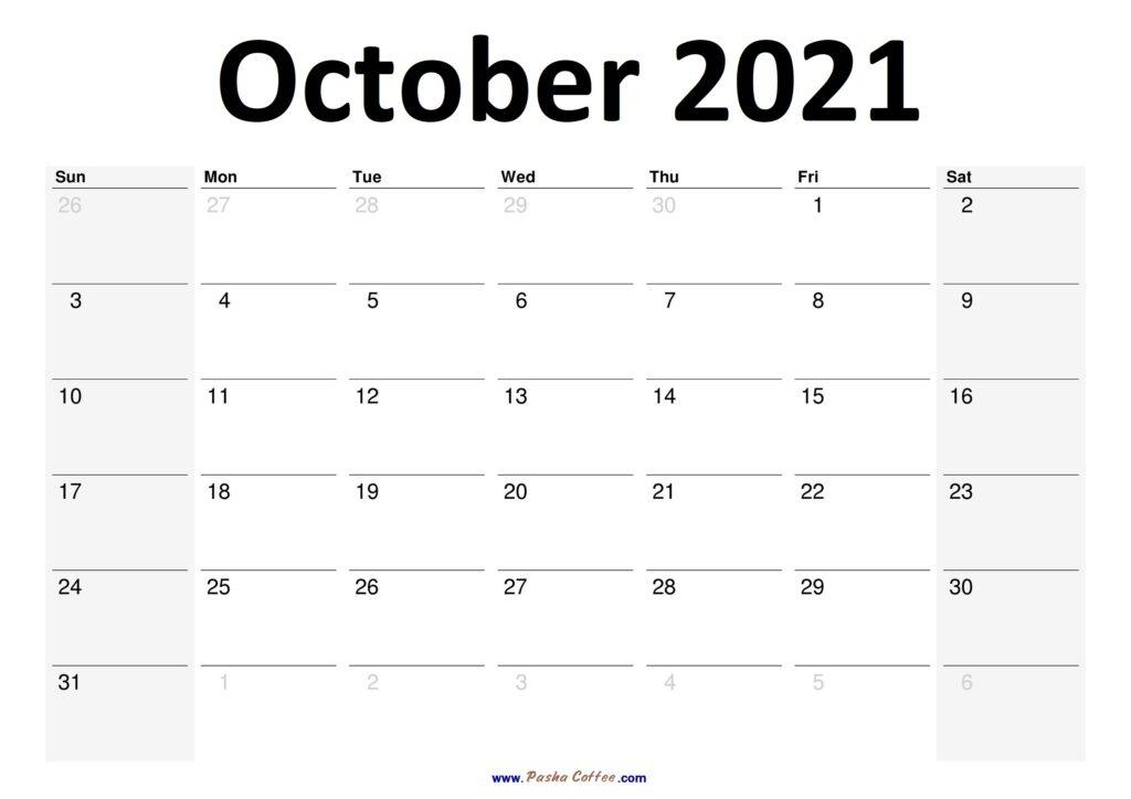 2021 October Calendar Planner Printable Monthly