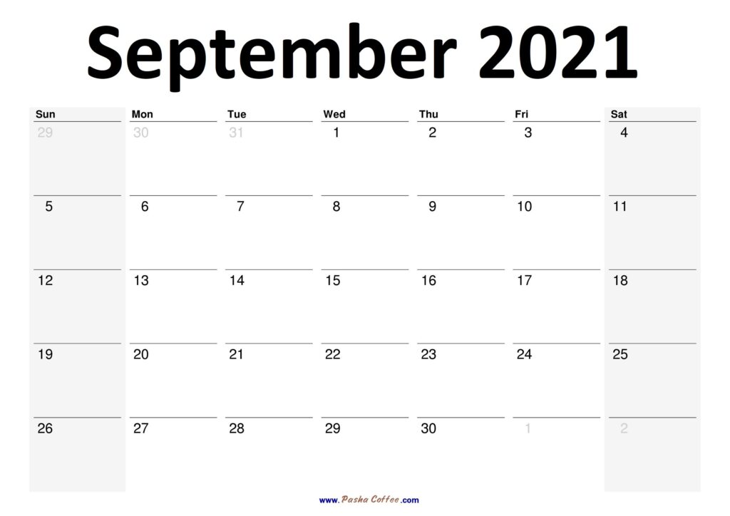 2021 September Calendar Planner Printable Monthly
