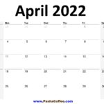 2022 April Calendar Planner Printable Monthly