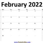 2022 February Calendar Planner Printable Monthly