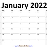 2022 January Calendar Planner Printable Monthly
