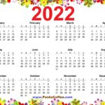 2022 Calendar Floral A4 Size Free to Print